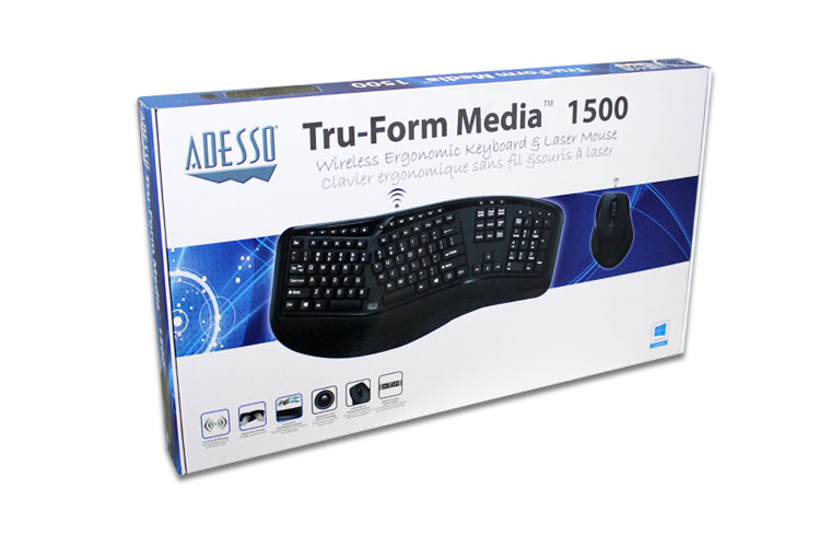 Adesso® Tru-Form Media 1500 - Wireless Ergonomic Keyboard & Laser ...