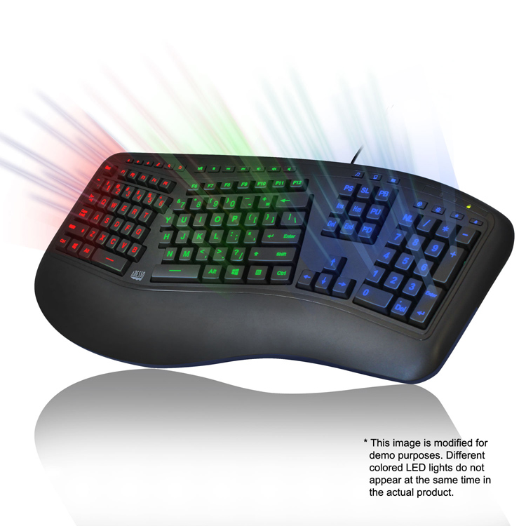 Adesso® Tru-Form 150 - 3-Color Illuminated Ergonomic Keyboard ...