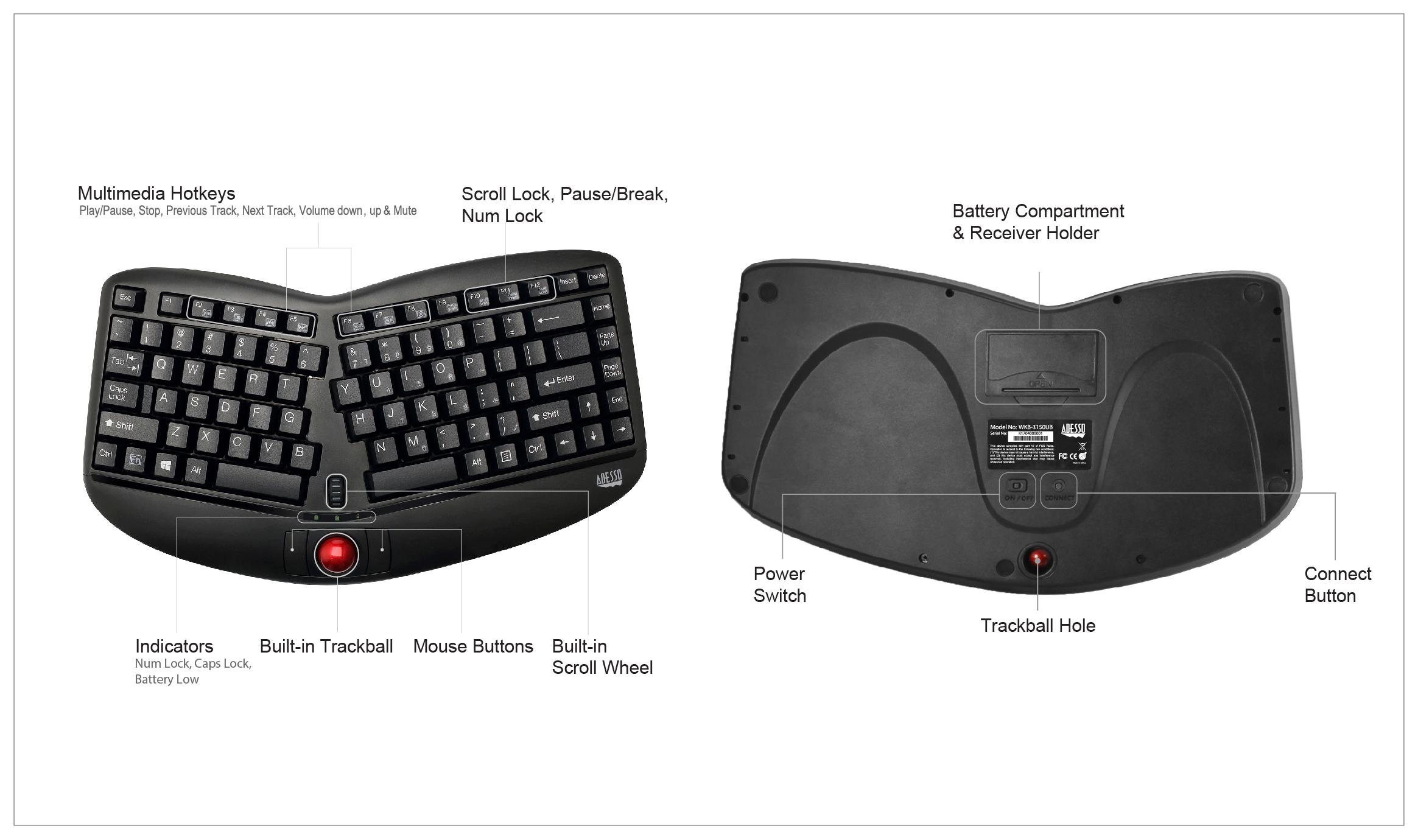Tru-Form Media 3150 Ergonomic Trackball Keyboard - Wireless