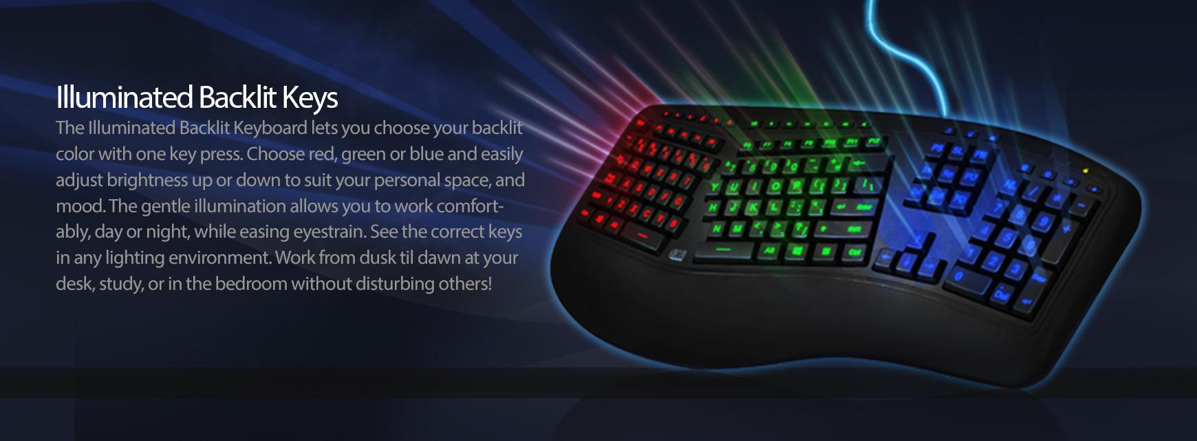 Adesso 174 Tru Form 150 3 Color Illuminated Ergonomic Keyboard Adesso