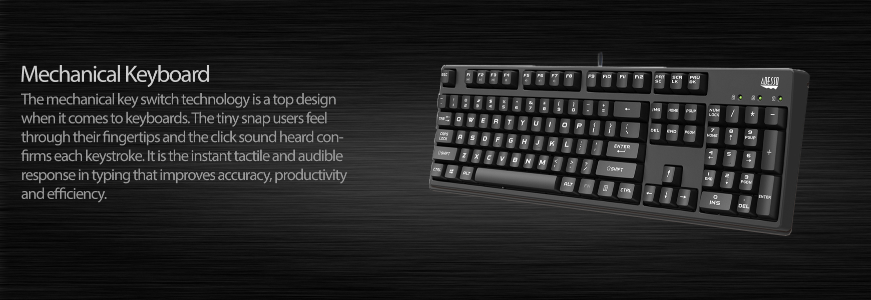Full Size Mechanical Gaming Keyboard Adesso Inc Your Input Device Specialist