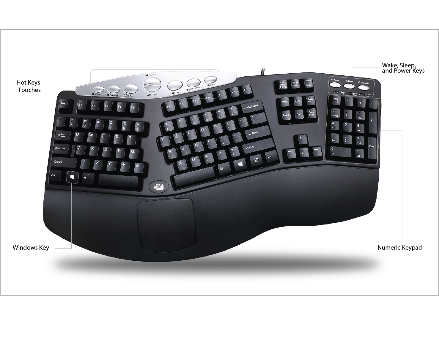 Surprising Tru Form Media 208 Media Contoured Ergonomic Keyboard Adesso Wiring Cloud Hisonuggs Outletorg