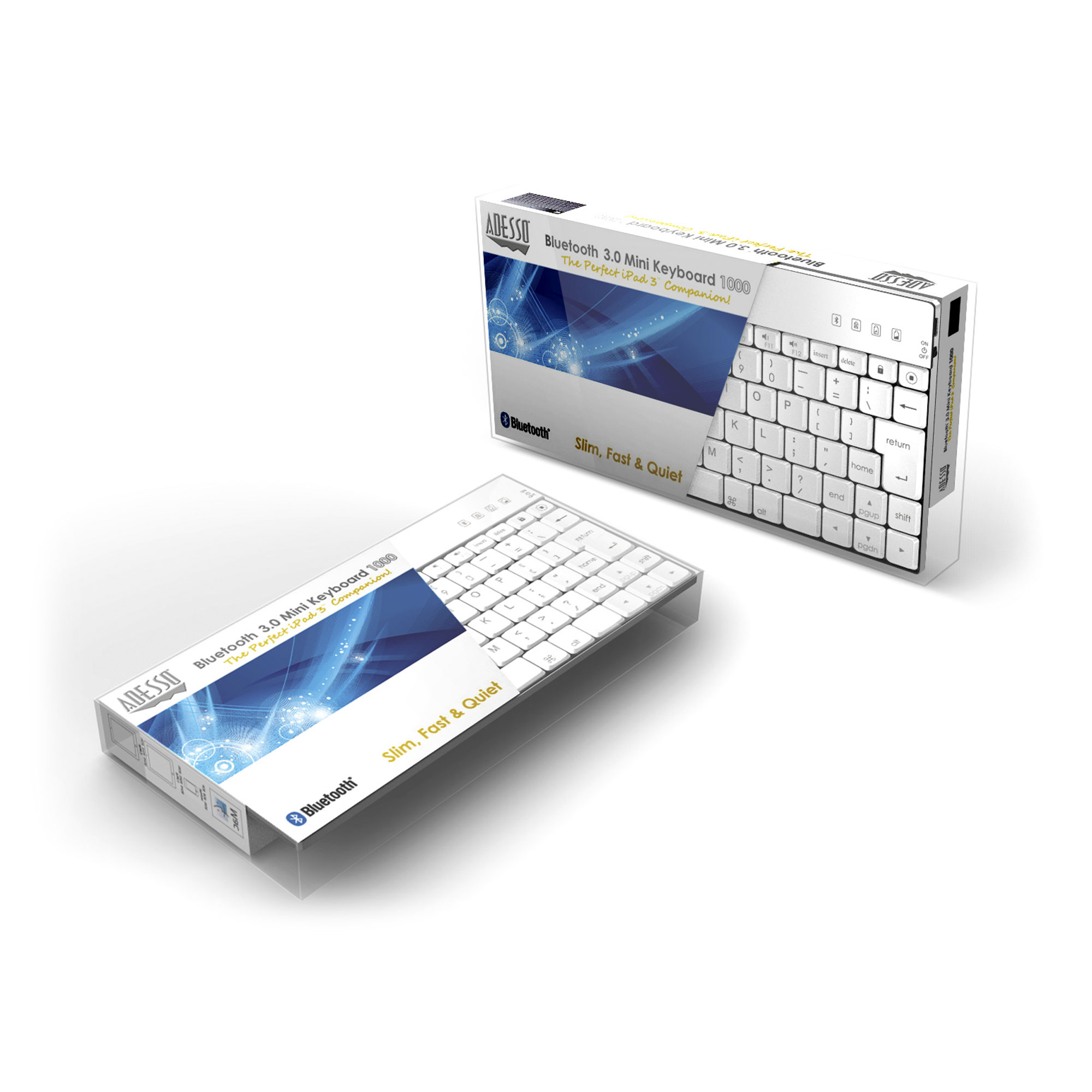 Wkb 1000bw Bluetooth Mini Keyboard 1000 For Ipad White Adesso Inc Your Input Device Specialist