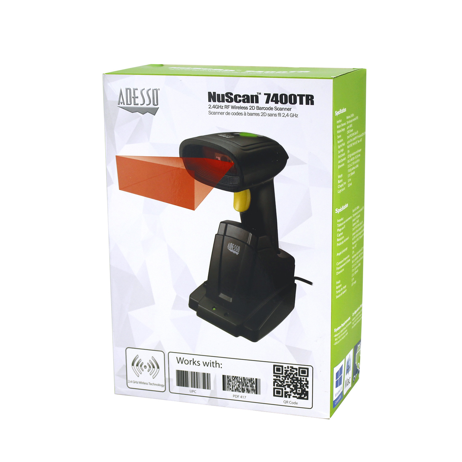 Nuscan 7400tr 24 Ghz Wireless 2d Barcode Scanner Adesso Inc