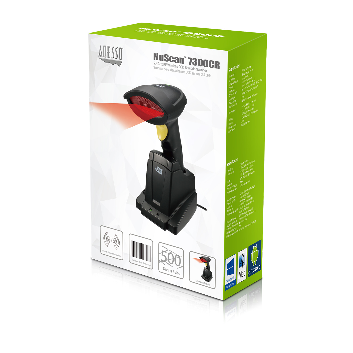 NuScan™ 7300CR Adesso 2 4 GHz Wireless CCD Barcode Scanner