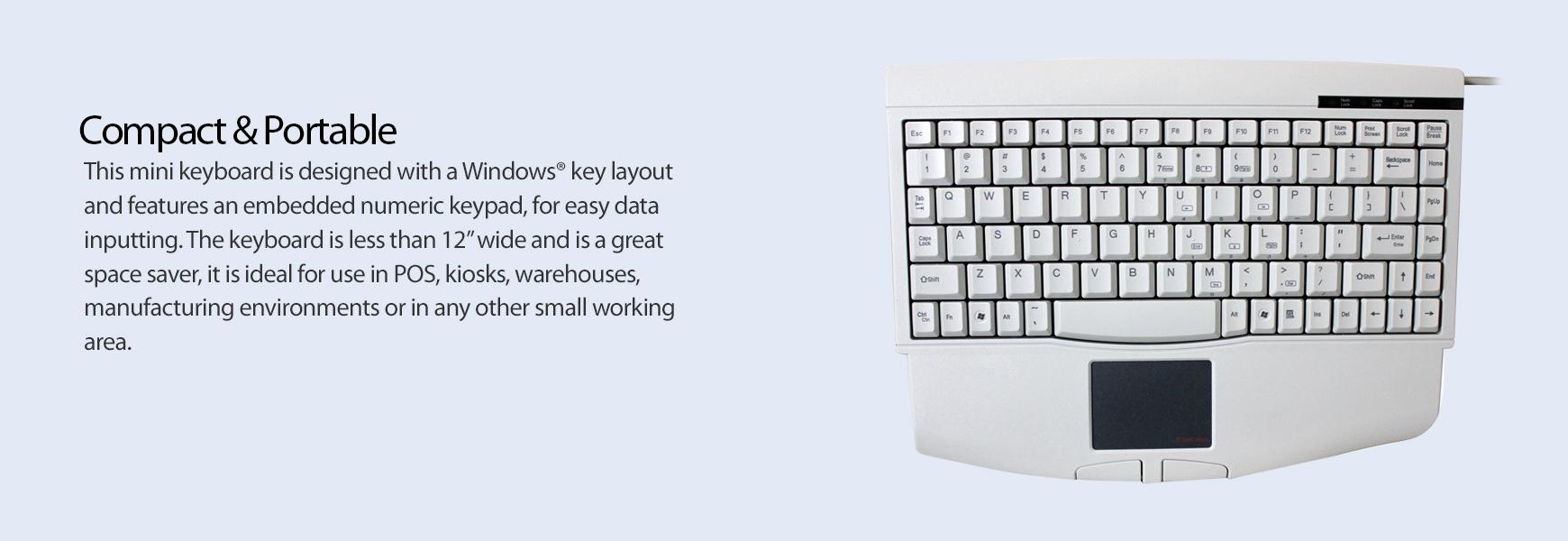 ACK-540UW - Mini Touchpad Keyboard (White)