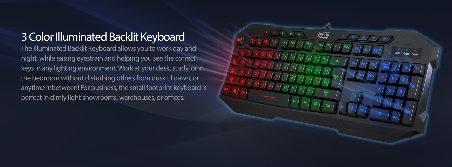3 Color Illuminated Gaming Keyboard Discontinued Adesso Inc Your Input Device Specialist
