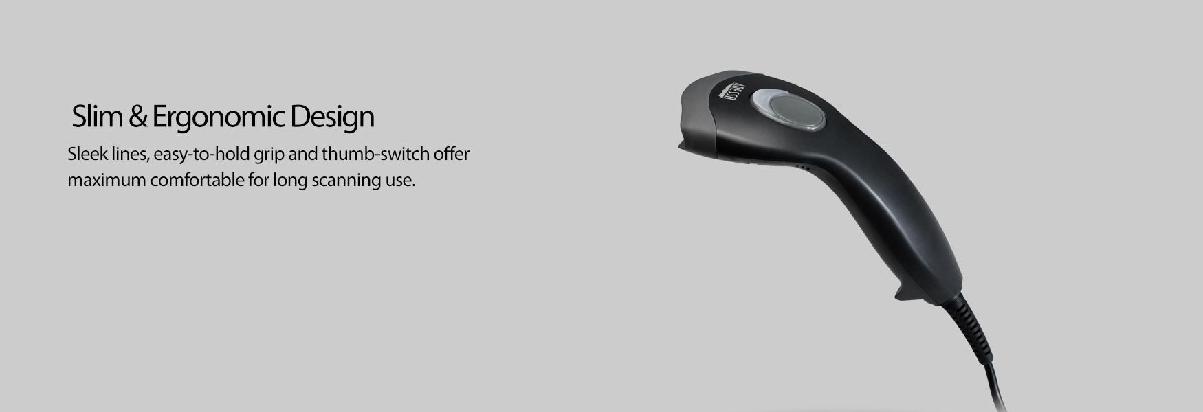 NuScan™ 2100 Slim Long Range Handheld CCD Barcode Scanner - Adesso ...
