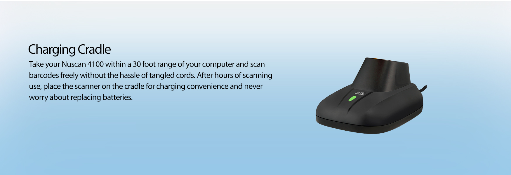 NuScan 4100B - Bluetooth® Antimicrobial Waterproof CCD Barcode Scanner