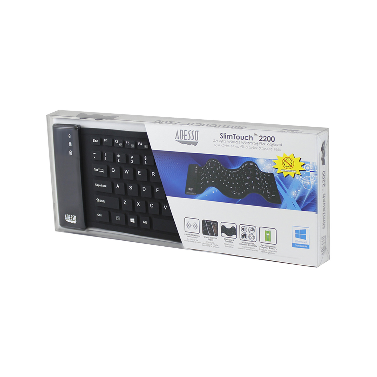 slimtouch 2200 wireless waterproof antimicrobial compact keyboard adesso inc your input. Black Bedroom Furniture Sets. Home Design Ideas