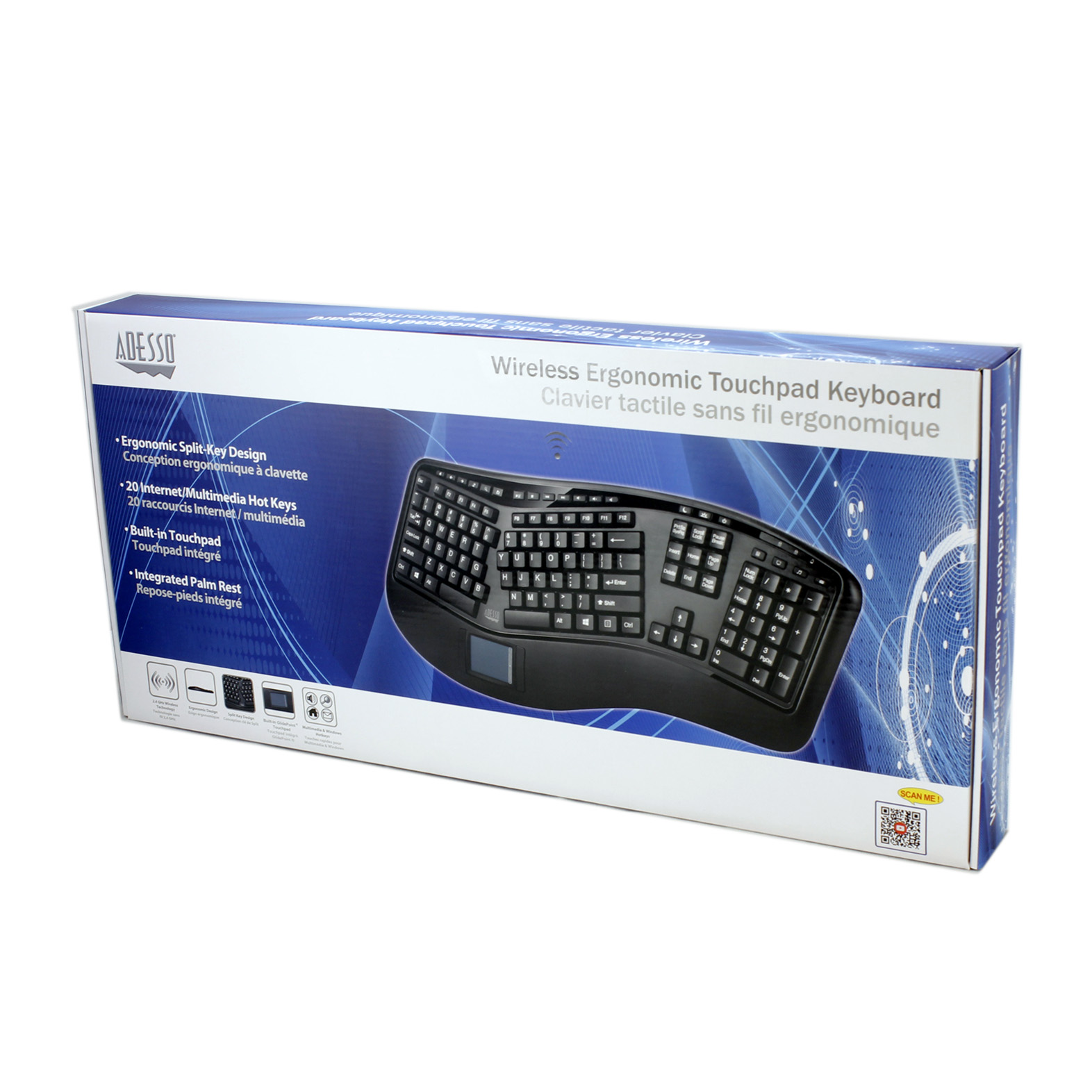 Tru-Form™ 4500 - 2.4GHz Wireless Ergonomic Touchpad Keyboard on