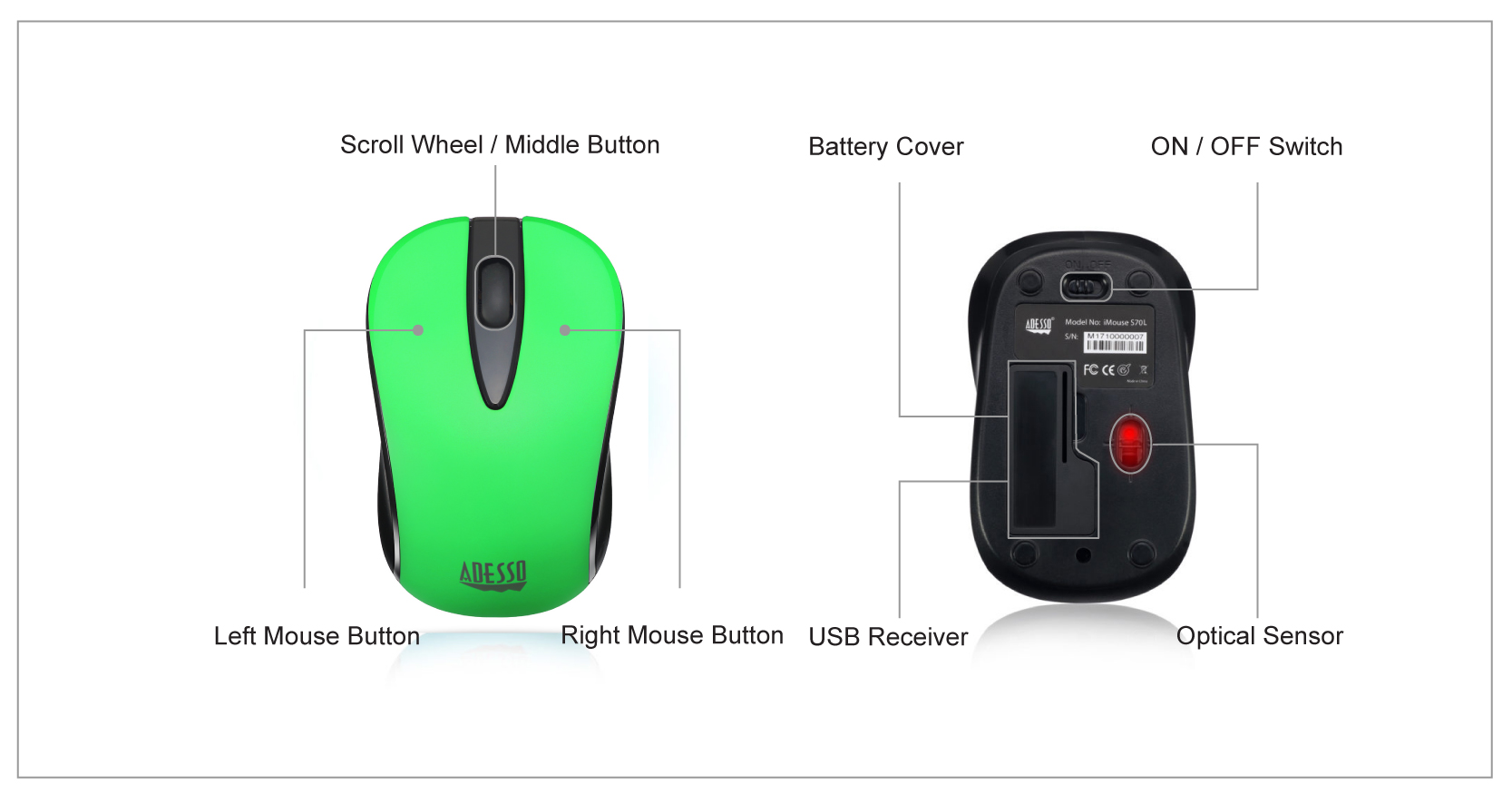 Imouse S70g Wireless Optical Neon Mouse Adesso Inc Your Advence W10 This Advanced Offers You 30 Feet Of Freedom And Eliminates The Constraints Wired Mice Often Cause