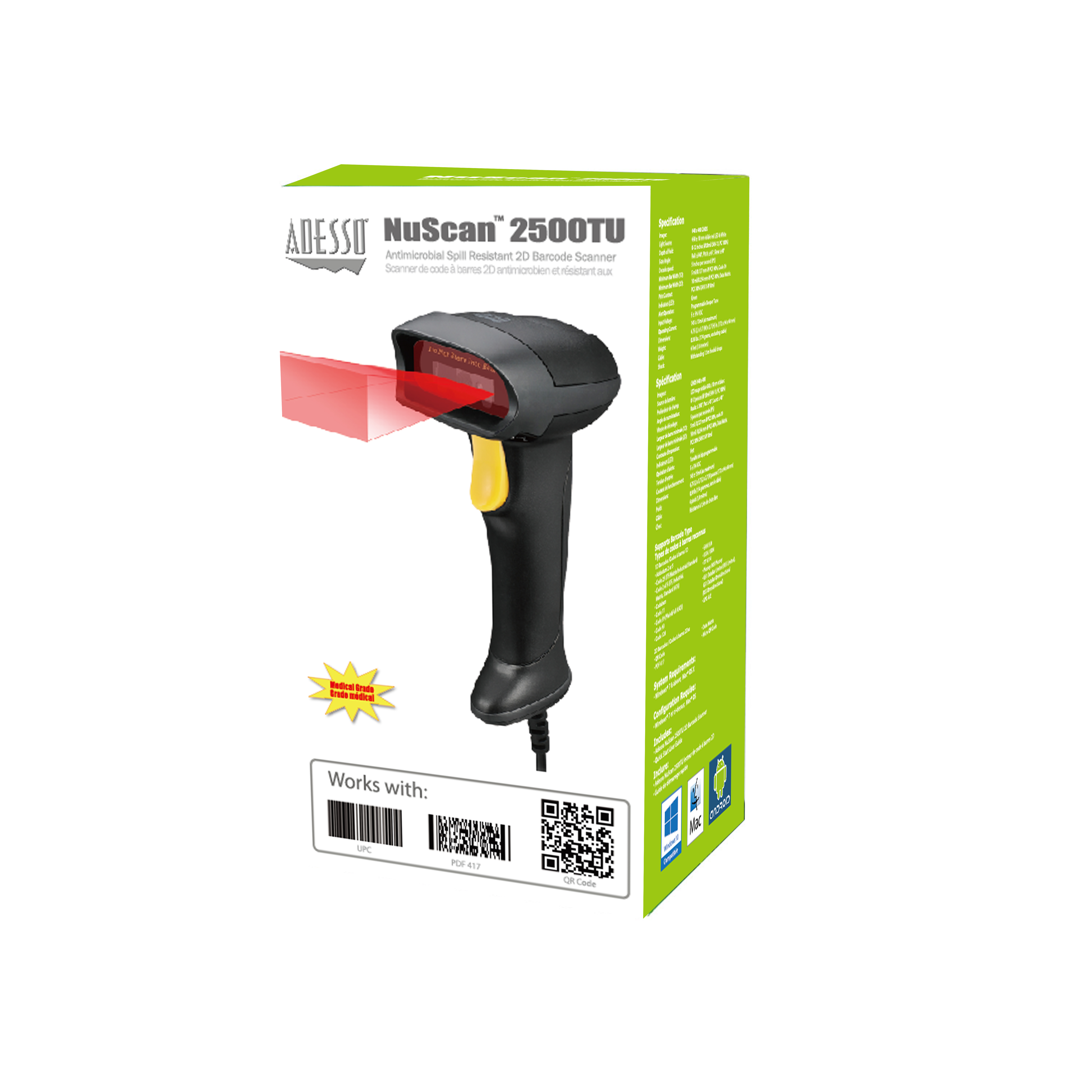 NuScan™ 2500TU - Spill Resistant Antimicrobial 2D Barcode Scanner